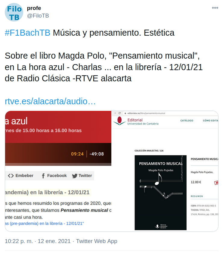 La hora azul Musica y pensamiento, en Twitter