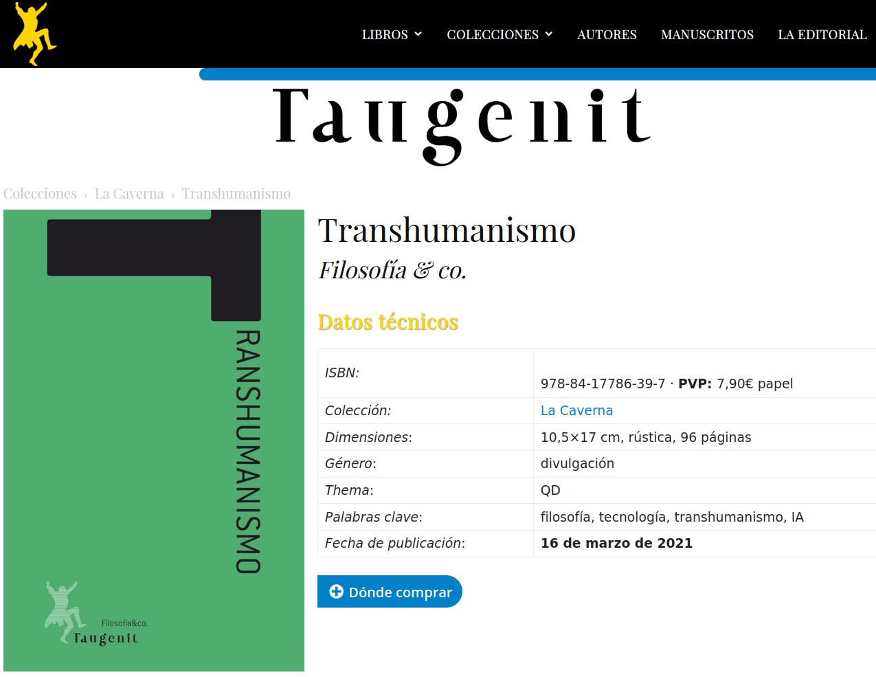 Transhumanismo de Filosofia y Co en Taugenit